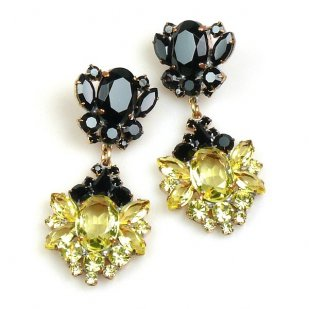 Aztec Sun Earrings Pierced ~ Yellow Jonquil with Black