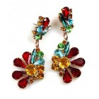 Power of Flowers ~ Earrings for Pierced Ears ~ Multicolor
