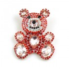 Teddy Bear Pin ~ Red and Pink