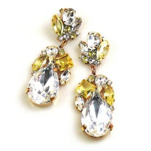 Fountain Earrings for Pierced Ears ~ Jonquil Tones with Crystal