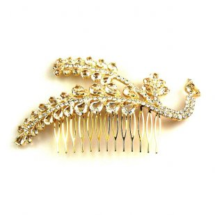 Zephyr Hair Comb ~ Peacock ~ Gold Plated