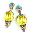 Taj Mahal Earrings Clips ~ Yellow Multicolor
