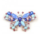 Multicolor Butterfly Brooch ~ Blue Amethyst