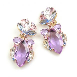 Floralie Earrings with Clips ~ Violet with Colors