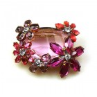 Elipse and Flowers Brooch ~ Pink