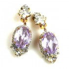 Ovals Clips-on Earrings ~ Crystal Silver Violet