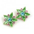 True Love Earrings Clips ~ Green and Pastel Colors