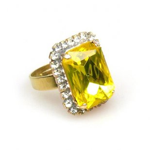 Zenith Ring ~ Clear Crystal with Yellow