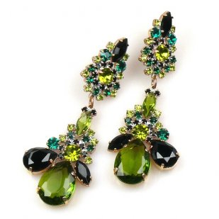 Parisienne Bloom Earrings Pierced ~ Olive Green Tones