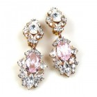 Crystal Gate Clips-on Earrings ~ Silver Pink