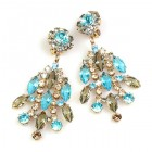 Enchanted Rhinestone Earrings Clips ~ Aqua Grey