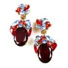 Fiore Clips Earrings ~ Ruby Red with Sapphire