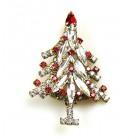 Xmas Tree Brooch #02 ~ Clear Red