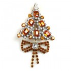 Xmas Tree with Bow Pin ~ Clear Topaz
