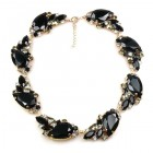 Fountain Necklace ~ Black with Smoke Crystal