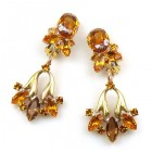 Tulip Earrings Clips ~ Topaz