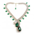 Paradise Lost Necklace ~ Crystal with Emerald