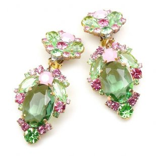 Mythique Clips-on Earrings ~ Green Pink