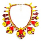 Fancy Essence Necklace ~ Opaque Red Yellow