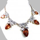 Camilla Necklace ~ Clear Crystal with Silver Hyacinth
