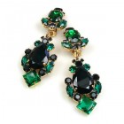 Déjà vu Clips Earrings ~ Emerald Black