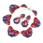 Iris Necklace Set ~ Violet and Red
