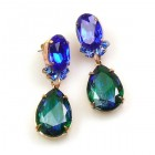 Effervescence Earrings for Pierced Ears ~ Silver Emerald Blue