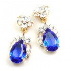 Fountain Clips-on Earrings ~ Clear with Blue