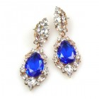 Grand Mythique Earrings for Pierced Ears ~ Crystal Blue