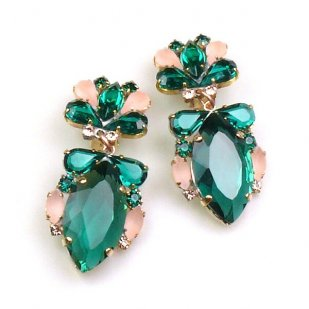 Floralie Earrings with Clips ~ Emerald with Old Rose