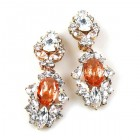 Crystal Gate Clips-on Earrings ~ Silver Orange