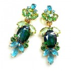 Iris Grande Clips Earrings ~ Silver Emerald Aqua