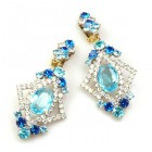 Pompe Earrings with Clips ~ Crystal with Aqua