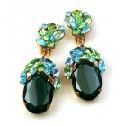 Fiore Clips Earrings ~ Emerald with Aqua and Green