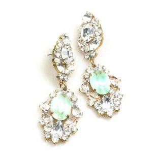 Crystal Gate Clips-on Earrings ~ Opaque Mint