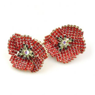 Red Poppy Earrings ~ Classic with Clips