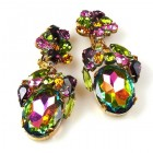 Fiore Clips Earrings ~ Vitrail Multicolor