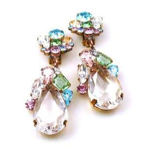 Fountain Clips-on Earrings ~ Pastel Tones with Clear Crystal