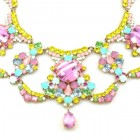 Carnival Necklace with Earrings ~ Multicolor Pink