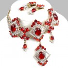 Pompe Choker with Earrings ~ Crystal with Red