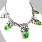 Camilla Necklace ~ Clear Crystal with Silver Green
