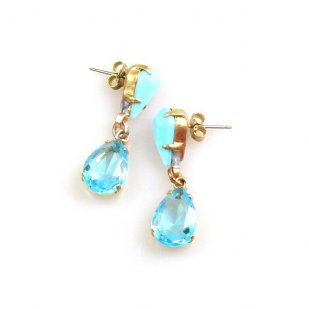 Droplets Earrings for Pierced Ears ~ Aqua Opaque Turquoise