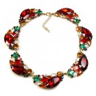 Brilliant Dew Necklace ~ Red and Multicolor