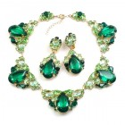 Iris Necklace Set ~ Peridot Green Emerald