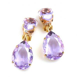 Raindrops Earrings Clips ~ Violet