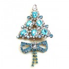 Xmas Tree with Bow Pin ~ Clear Aqua