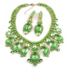 Absolue Necklace Set with Earrings ~ Opaque Green Peridot