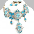 Pompe Choker with Earrings ~ Crystal with Aqua