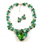 Elipse Necklace Set with Earrings ~ Green