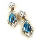 Grand Mythique Clips-on Earrings ~ Crystal Gold Blue